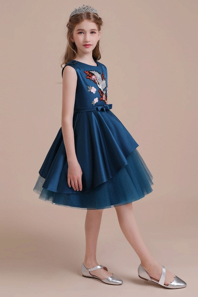 Embroidered Satin Tulle A-line Flower Girl Dress_7
