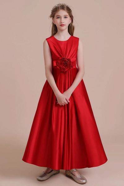 Chic Satin A-line Ankle Length Flower Girl Dress_1