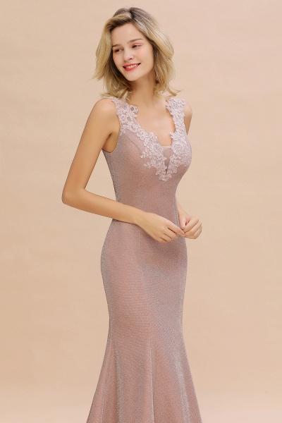 Fascinating V-neck Lace Mermaid Evening Dress_16