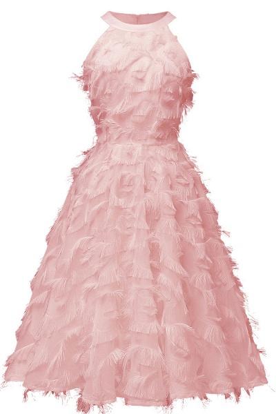 Elegant Halter Feather Princess Vintage Dresses | Retro A-line Burgundy Homecoming Dress_5