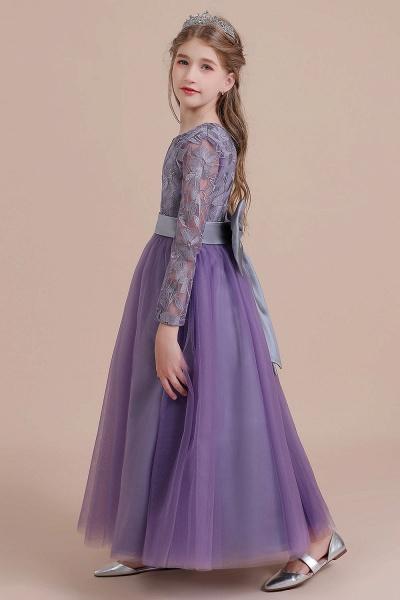 Long Sleeve A-line Ankle Length Flower Girl Dress_6