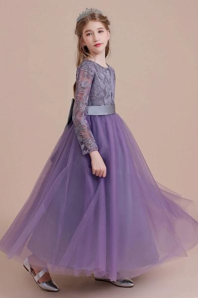 Long Sleeve A-line Ankle Length Flower Girl Dress_8