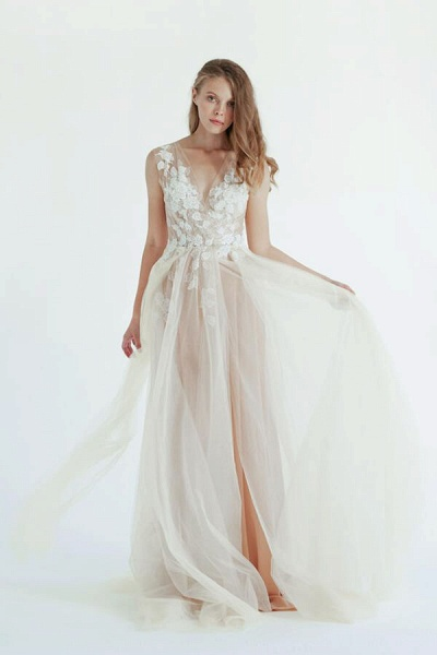 Latest V-neck Tulle A-line Wedding Dress_2
