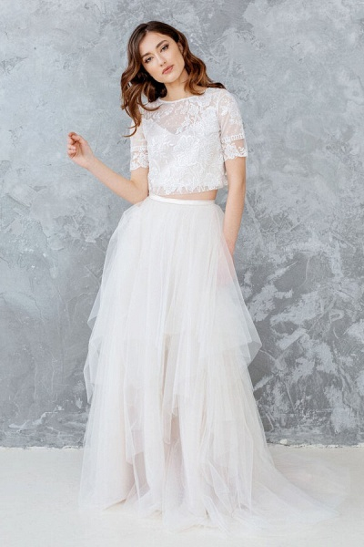 Short Sleeve Lace Tulle Two Piece Wedding Dress_1