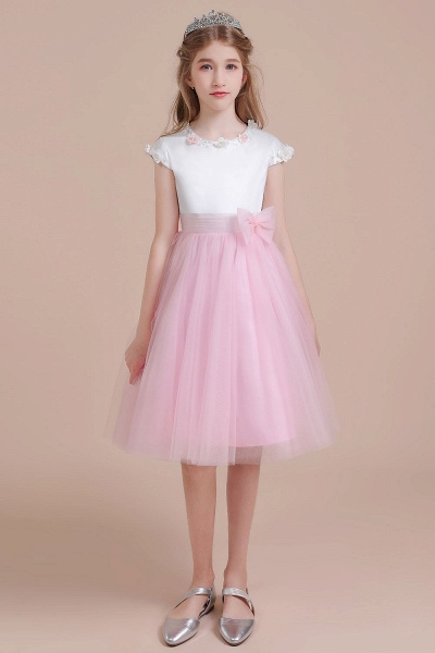 Cap Sleeve Tulle Knee Length Flower Girl Dress_1