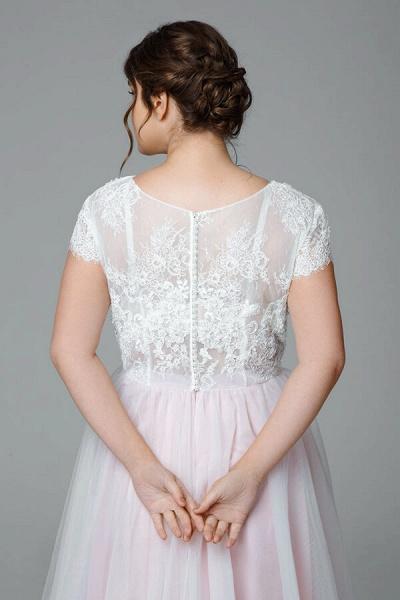 Plus Size Short Sleeve Lace Tulle Wedding Dress_6