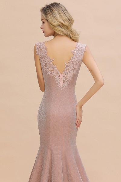 Fascinating V-neck Lace Mermaid Evening Dress_9