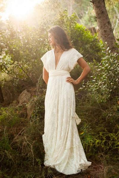 Open Back V-neck Lace Floor Length Wedding Dress_1