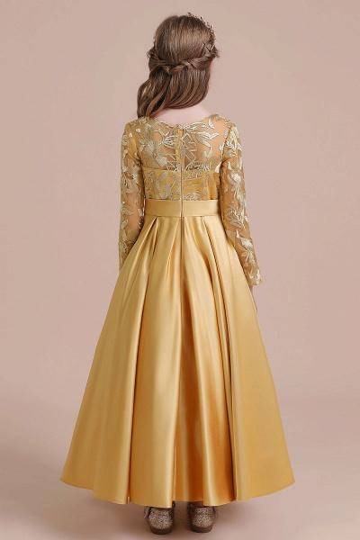 Long Sleeve Satin Ankle Length Flower Girl Dress_3