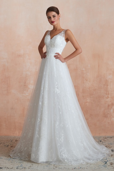 Elegant V-neck Lace Tulle A-line Wedding Dress_7
