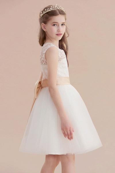 Lace Tulle Knee Length Dress Flower Girl Dress_8