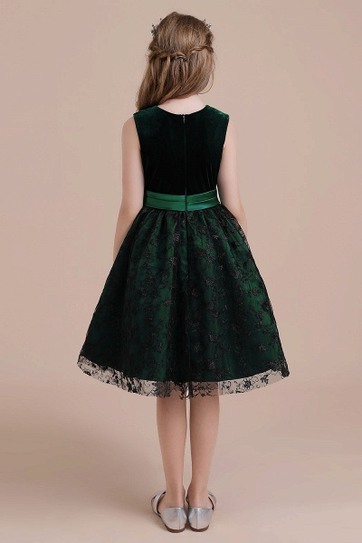 Lace Velvet A-line Knee Length Flower Girl Dress_3