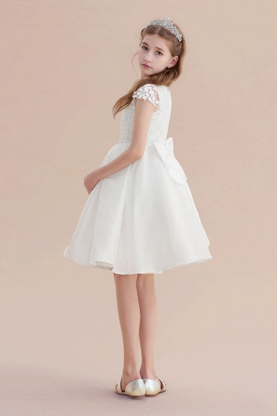 Cap Sleeve Lace Bow A-line Flower Girl Dress_7