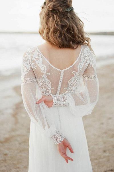 Chic Illusion Long Sleeve Tulle Wedding Dress_8