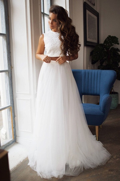 Awesome Lace Tulle Two Piece Wedding Dress_1