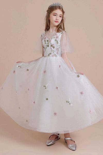 Short Sleeve Embroidered Tulle Flower Girl Dress_5