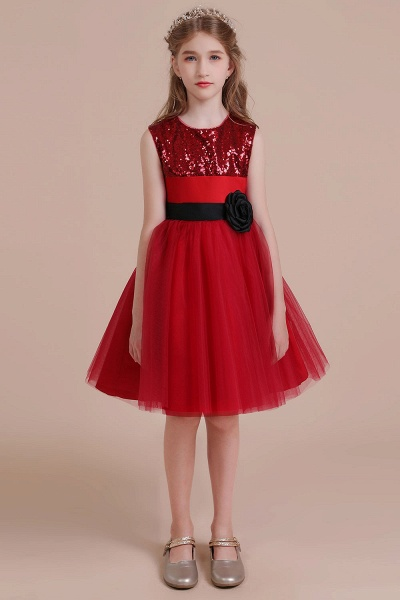 Graceful Sequins Tulle A-line Flower Girl Dress_4