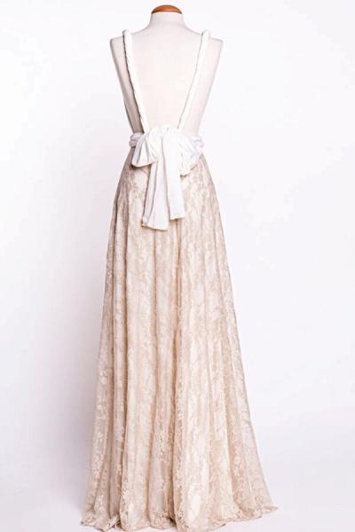 Awesome V-neck Lace Sheath Wedding Dress_6