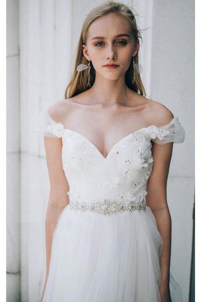 Sweetheart Beading Tulle A-line Wedding Dress_8