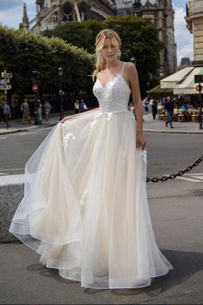 Spaghetti Strap Appliques A-line Wedding Dress_1