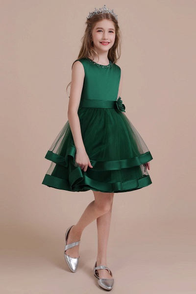 Bow A-line Satin Layered Tulle Flower Girl Dress_5