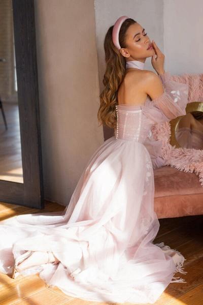 Graceful Long Sleeve A-line Tulle Wedding Dress_6