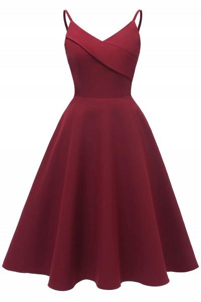 Trendy Spaghetti Straps Sleeveless Princess Vintage Dresses | Womens Retro V-neck Burgundy Cocktail Dress_2