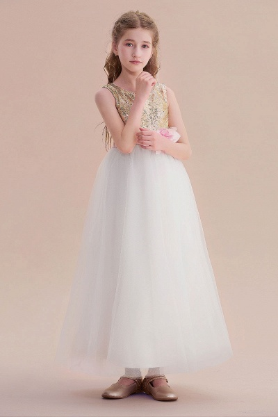 Sequins Tulle High-waisted A-line Flower Girl Dress_4