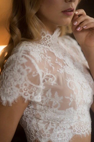 Short Sleeve Lace Tulle Two Piece Wedding Dress_6
