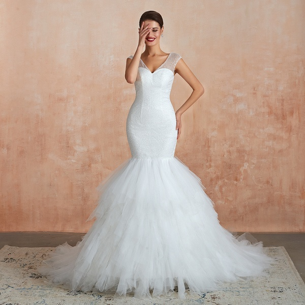 Graceful Sequin Lace-up Mermaid Tulle Wedding Dress_7