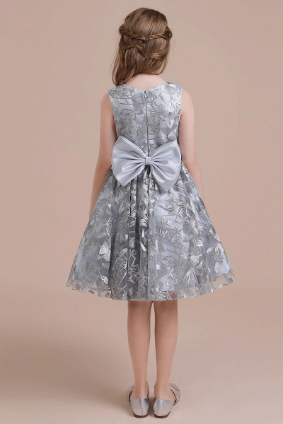 Chic Bow A-line Tulle Flower Girl Dress_3