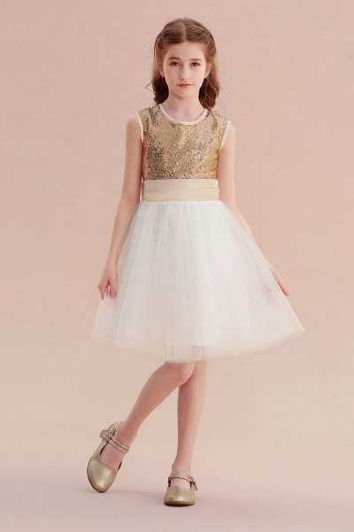 Sequins Tulle Bow A-line Flower Girl Dress_4