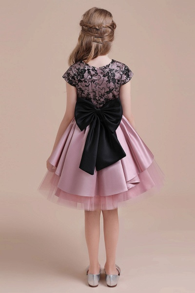 Cap Sleeve Lace Tulle Knee Length Flower Girl Dress_3