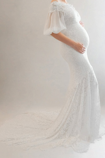 Awesome Off Shoulder Mermaid Lace Wedding Dress_6