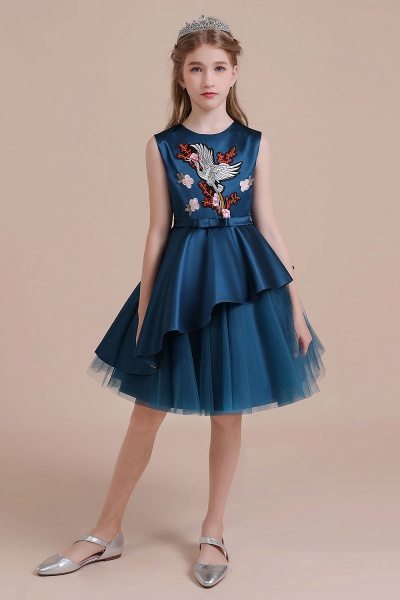Embroidered Satin Tulle A-line Flower Girl Dress_4
