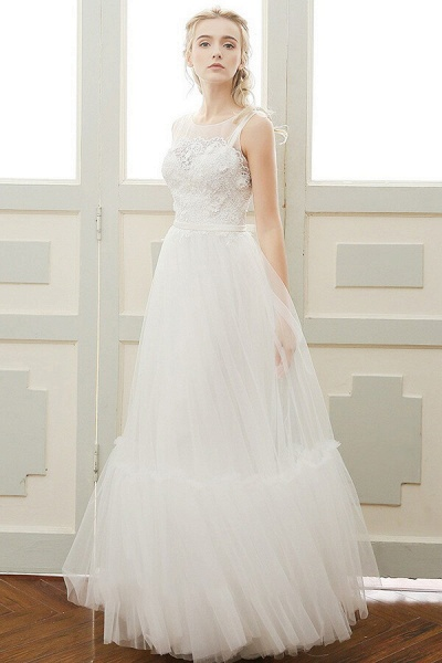 Affordable A-line Tulle Wedding Dress_3