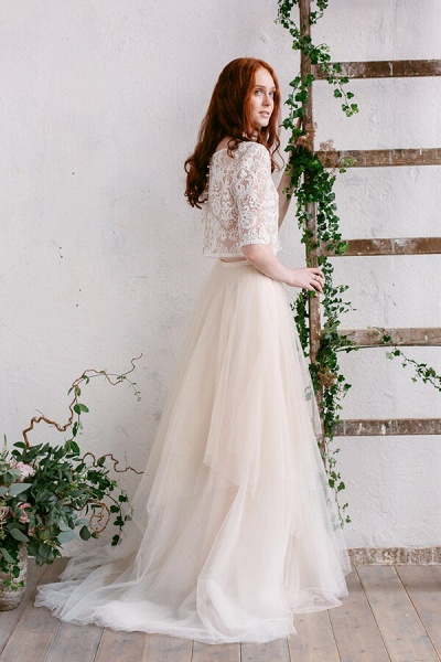 Chic Sweep Train Tulle Two Piece Wedding Dress_3