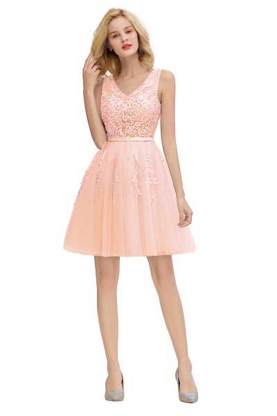 Sexy V-neck Lace-up Short Homecoming Dress with Lace Appliques_28