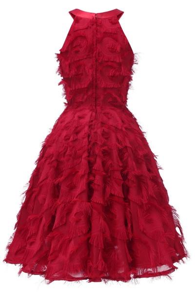Elegant Halter Feather Princess Vintage Dresses | Retro A-line Burgundy Homecoming Dress_12