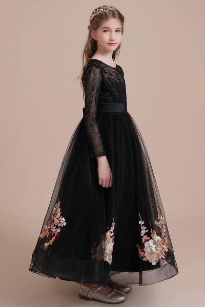 Embroidered Long Sleeve Tulle Flower Girl Dress_7