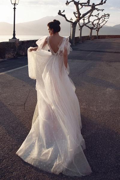 Chic Open Back V-neck Tulle A-line Wedding Dress_3