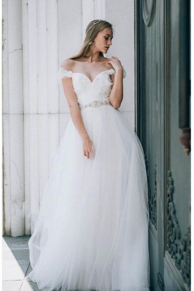 Sweetheart Beading Tulle A-line Wedding Dress_2