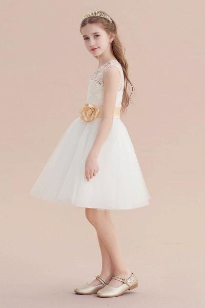 Lace Tulle Knee Length Dress Flower Girl Dress_5