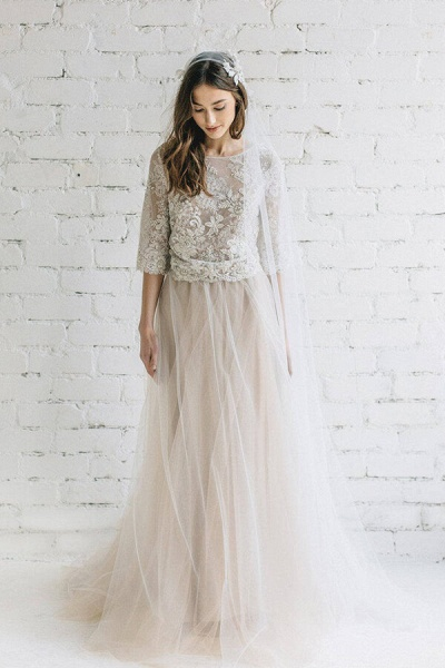 Eye-catching Lace Tulle Two Piece Wedding Dress_1