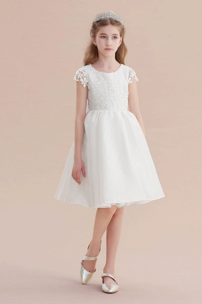 Cap Sleeve Lace Bow A-line Flower Girl Dress_4