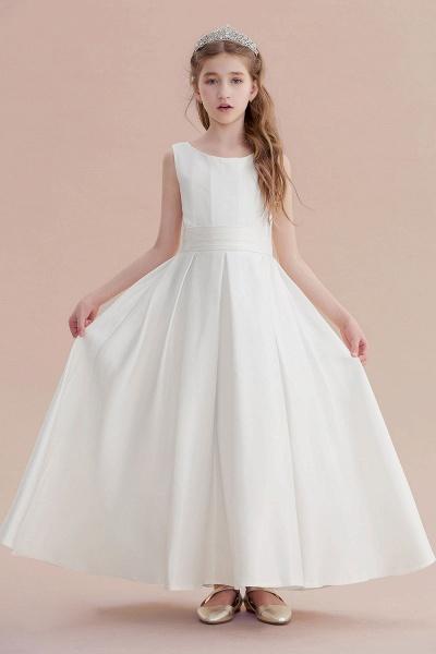 Simple A-line Satin Flower Girl Dress_5
