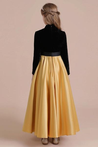 High-neck Velvet Satin A-line Flower Girl Dress_10