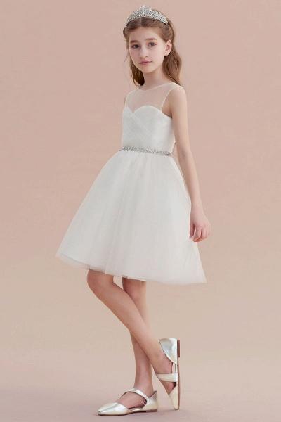 Illusion Knee Length A-line Tulle Flower Girl Dress_6