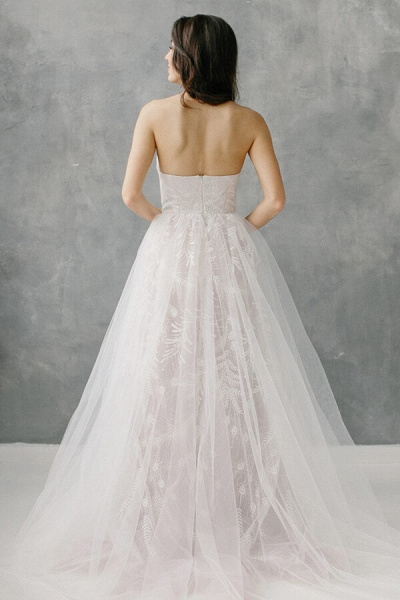 Awesome Sweetheart Lace Tulle A-line Wedding Dress_3
