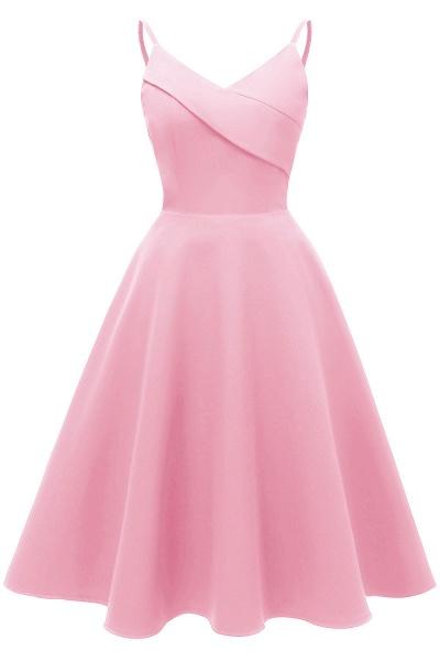 Trendy Spaghetti Straps Sleeveless Princess Vintage Dresses | Womens Retro V-neck Burgundy Cocktail Dress_1